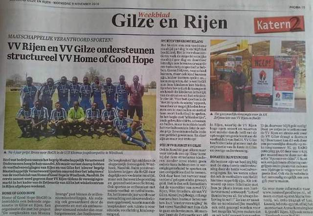 VV Rijen en VV Gilze ondersteunen VV Home of Good Hope